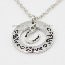 "2015 ""Live Love Ride""Necklace Hand stamped horse lover jewelry Horse Riding Gift necklace equestrian Jewelry"