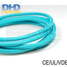 100meter 3 cores light blue fabric wire 3*0.75mm vintage electrical cable cord edison lamp cloth - Dream House Decoration Co.,Ltd store