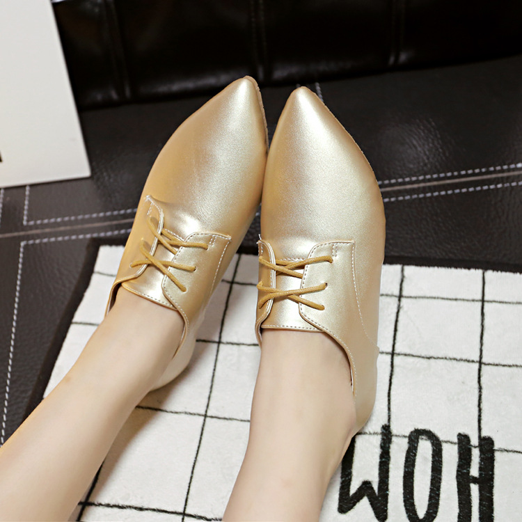 Autumn And Winter New  Pointed Flat Casual Shoes golden Silver Women Flat Shoes Ladies Shoes simple single shoes<br><br>Aliexpress