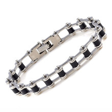 Silver Tone Biker Bracelet Men Motorcycle Link Chain Bike Bicycle Chain Bracelet Bangles Classic Stainless Steel Men's Bracelet(China)
