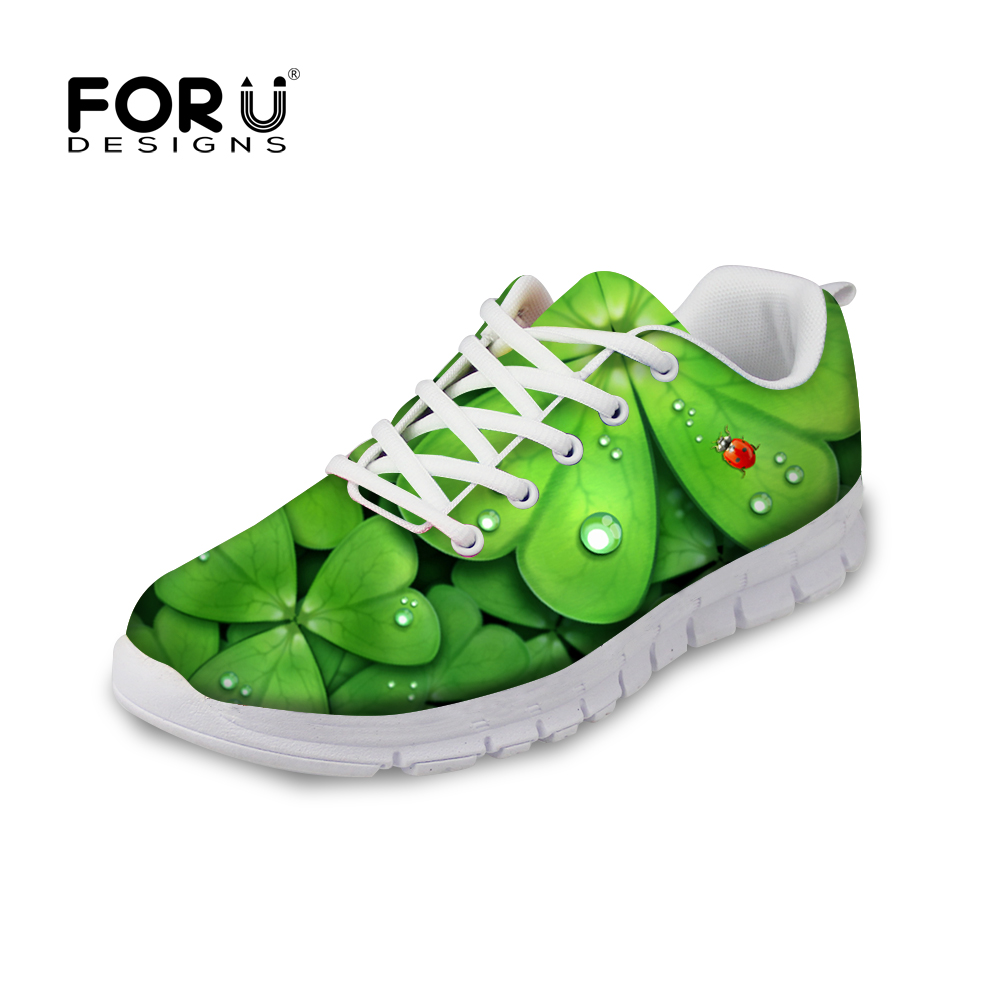 FORUDESIGNS Flats Shoes Woman Creative Green Leaves Printed Casual Breathable Shoes for Ladies Women Flats Leisure Shoes Mujer <br>