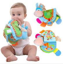 TOP 0-12 Month Baby Rattles Teether Toys Cute Donkey Animal Cloth Book For Toddlers Learning early Education Toys Christmas Gift(China)
