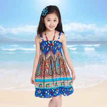 New Children's Girls Child Korean Fashion Ideas Flower Beach Dress Blue Rose Red(China)