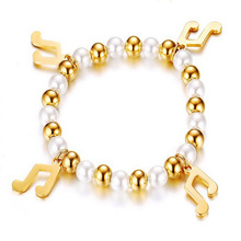 Fashion Strand Bracelets For Women Stainless Steel Imitation Pearls Music Symbols Accessories Charms Beads For Jewelry Making(China)