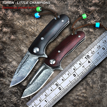 TUREN-Little Champions 58HRC Handmade Damascus outdoor pocket knife high quality natural padauk handle(China)