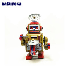 Classic collection Retro Clockwork Wind up Metal Walking Tin Band Play gong drum robot recall Mechanical toy kids christmas gift(China)