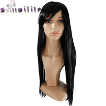 "S-noilite Long 24-28"" Straight Synthetic Side Parting Wigs With Bangs For Black Women Brazilian Hairstyle Natural Synthetic Hair(China)"