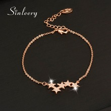 SINLEERY Charm Micro Pave Crystal Star Bracelet Bangle Women White/Rose Gold  Color Link Chain Jewelry Femme 2017 Sl034