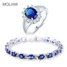MOLIAM 2017 Fashion Costume Jewellery Sets Silver Color Zirconia Crystal Bracelets Rings Set for Women MLL120c+MLR199