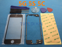 Front Outer Screen Glass Lens Cover Replacement For iPhone 5 5s 5c Touch Screen + lcd frame + sticker + tools
