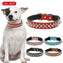 Soft Leather Spiked Studded Pet Puppy Dog Collar For Small Medium Dogs Size S M L 5 Colors