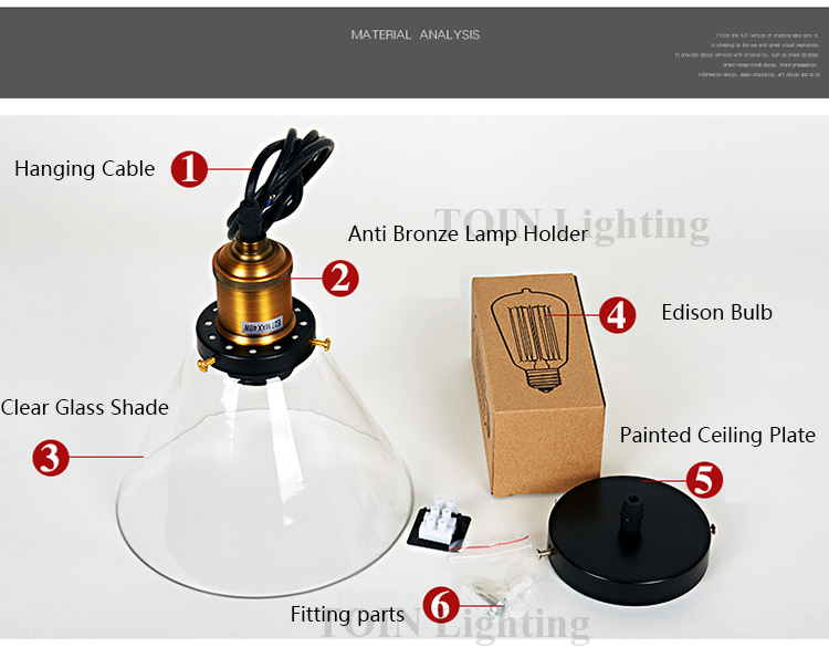 Loft RH Vintage Pendant Lights Glass Industrial Pendant Lamps Metal Retro Lustres Hanging Fixtures luminaire suspendu E27 D98 9