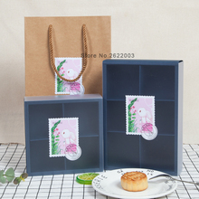 Blue paper Gift box/Backing Cake box/Western-style food/Biscuit snack mooncake packaging paper box 100pcs/lot(China)