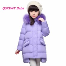 Children Down Jackets Russian Winter Girls Long Sections Thickening Warm Outerwear & Coats Girl Fur Collar Down & Parkas Russia