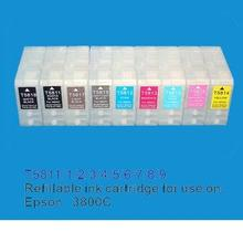 1Set Empty Refillable ink cartridge with auto reset chip for Epson 3800 printer; 9pcs/set(China)