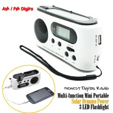 Newest Mini Portable Radio Solar Dynamo Power AM/FM Scan Digital Radio With 3 LEDs Flashlight Phone Charge