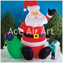 inflatable winter sale product inflatable Santa Claus sit in the snow for Christmas decoration