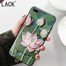 LACK Classic Lotus Case For iphone6 Summer Cool Cartoon lotus Floral Phone Cases For iphone 6S 7 7Plus Soft relief Fashion Cover