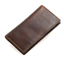 RFID Blocking Long Size Chocolate Color Real Skin Genuine Leather Men Wallets Cowhide Man Purse #M8119