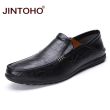 JINTOHO Summer Fashion Casual Men Shoes Breathable Male Shoes Slip On Men Genuine Leather Shoes Men Flats Mens Leather Loafers(China)