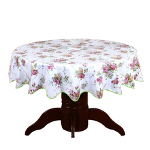 Pastoral Round Table Cloth PVC Plastic Table Cover Flowers Printed tablecloth Waterproof Home Party Wedding Decoration 180cm No3