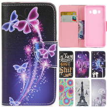 Luxury Cute Cartoon Dream Butterfly Lover Leather Flip Coque Fundas Case For Samsung Galaxy J3 J5 2016 J310 J510 Back Cover