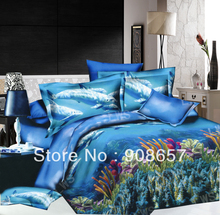 blue Under the Sea fish pattern cheaper 3D bedding set discount oil painting queen/full duvet covers sets 4p for quilt/comforter