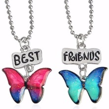 2 in set baby necklace Promotion for your girl children butterfly best friends buds fashion Jewelry 7607(China)