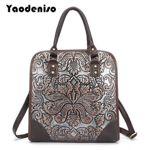 Yaodeniso Brand Ladies Handbags Genuine Leather Women Bag Casual Tote Floral Print Shoulder Bags 2017 New Luxury Large Tote Bag(China)
