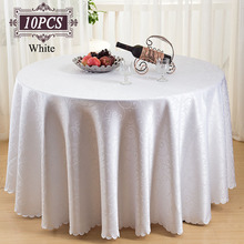 Free Shipping 10PC Luxury Poly Round Tablecloth Damask Jacquard Rectangular Table Cloth for Wedding Favors Christmas Party Decor