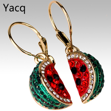 YACQ Watermelon Dangle Earrings Crystal Rhinestone Charm Women Girls Fashion Jewelry Gifts Gold Silver Plated ED01 Dropshipping(China)