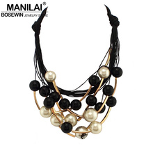MANILAI Maxi Jewelry imitation Pearl Necklace Black Rope Bead Golden Tube Statement Collar Choker Necklace For Women Collier