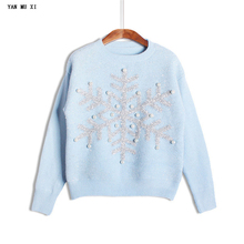 2017 autumn and winter Europe and United States snowflake sequined pearl weaving sweater long-sleeved Christmas ladies sweater(China)
