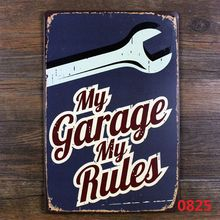 Family retro garage decoration - my garage my rules metal tin sign plaque for Auto garage art vintage decor