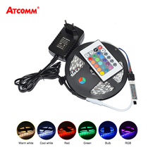 5050 RGB LED Strip Light 12V 300 LEDs IP65 5 Meters LED Tape Lamp Diode Ribbon With 24 Key Remote Controller 3A Power Adapter