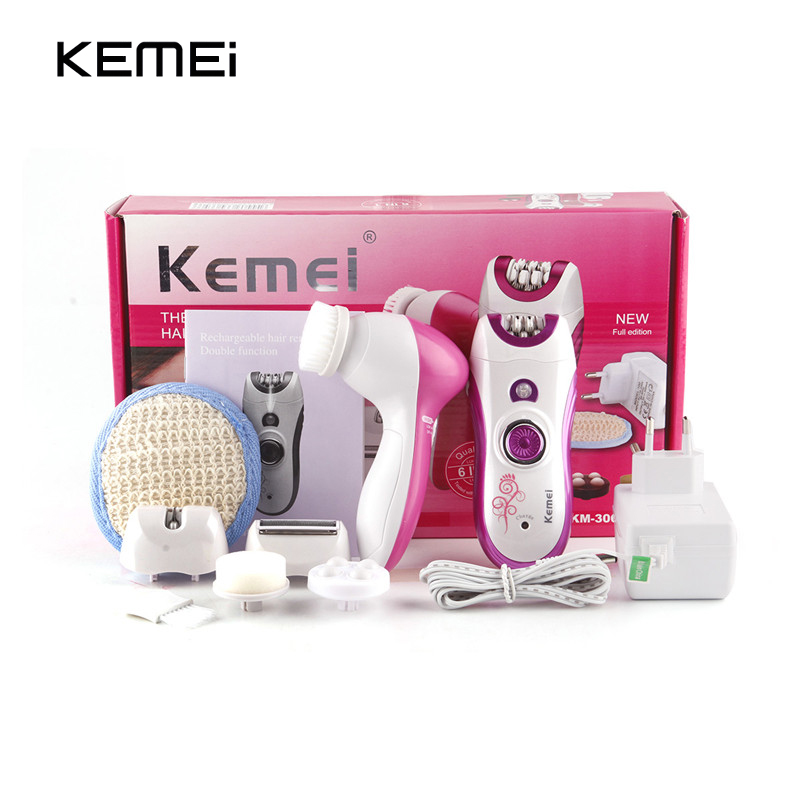 Kemei 6 in 1 Electric Female Epilator Rechargeable Women Hair Removal Razor with Powered Facial Cleansing Devices Wash Face  <br>