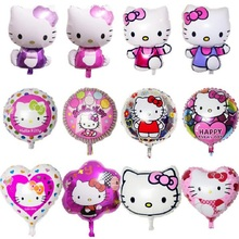Many Design 1Pcs Cute Hello Kitty Foil Balloons Baby Globos Toy Birthday Wedding Party Decoration KT Cat Helium Balloon Gifts