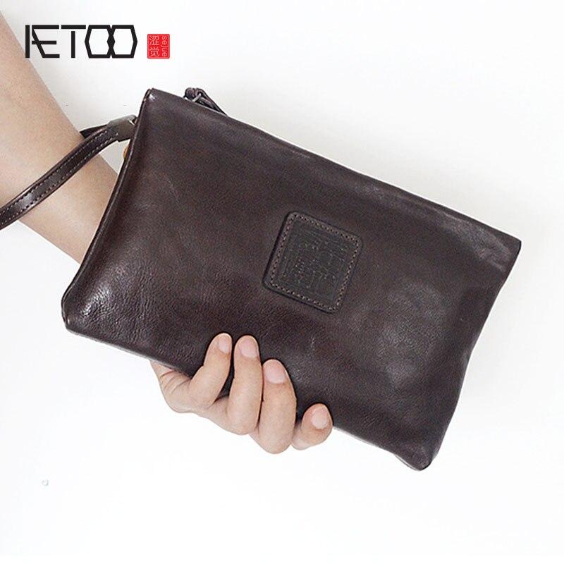 AETOO Planted tannage cowhide handbag men and women general retro long zipper leather bag Vintage wallet<br>