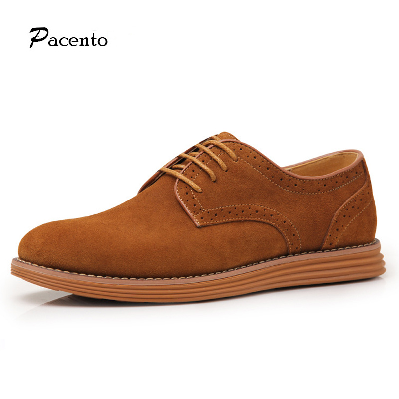 PACENTO Luxury Band 2017 New Genuine Leather Men Shoes Flats Fashion Men Lace-up Suede Skin Shoes Big Size 46 47 Chaussure Homme<br>