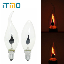 iTimo E14 E27 LED Edison Bulb Flame Fire Lighting Novel Candle Tip Lamp Tungsten Vintage Flickering Effect 3W Orange Red 220V(China)
