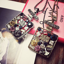 Free Shipping Collar Black/Coffee Color New Design Colorful Crystal Jewelry Fashion Perfume Bottle Pendant Necklace for Women