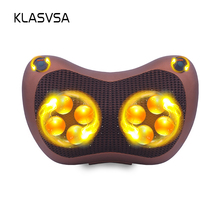 KLASVSA Heating Kneading Head Massage Pillow Home Car Dual Use Body Cervical Lumbar Waist Leg Pain Relief Relaxation Health Care