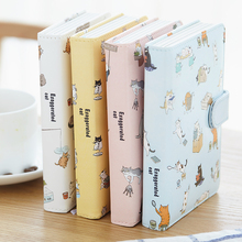 Hardcover Notebook Cute Cat 128 Sheets Buckle Waterproof PU Leather A6 B6 Planner School Supplies Papelaria Office Stationery(China)