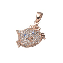 2017 Newest Nice Cute Full Zircon stone hello kitty Pendant silver/rose gold Cat Charms for Necklace bracelet accessories