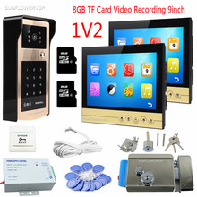 "9"" Color LCD Video Doorphone 2 Monitors 8GB TF  Card Video Recording Home phone Rfid Code Panel Door Camera Intercom With Lock"