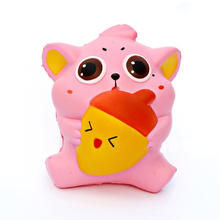 Cute Pink Animal Key Chains Squishy Slow Rising Soft Phone Straps Accessories Scented Cake Kid Toy Fun Kids Gift(China)