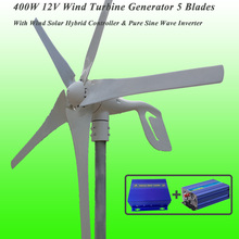 Great Discount 5 Blades 400W 12V Wind Turbine Generator With Wind Solar Hybrid Controller & 1KW Pure Sine Wave Inverter