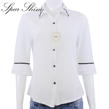 Buy White Shirt Women's Short-sleeved Summer Wear Business Cardigan Chiffon Blouse Three Quarter Flare Sleeve Camisa Das Mulheres for $6.99 in AliExpress store