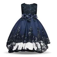 Baby Girls Clothes Sleeveless Princess Children Flower Girl Dresses For Wedding Party 4-12 Years Kid's Trailing Long Prom Gowns