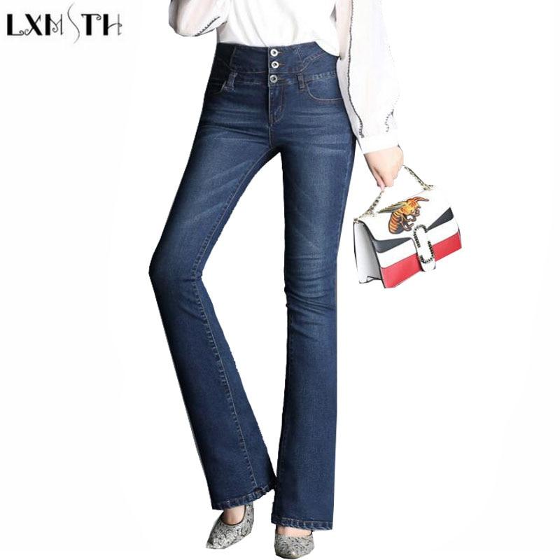 LXMSTH Womens Vintage High Waisted jeans With Buttons Flare Pants Women 2017 Fashion Plus Size Korean Ladies Denim Trousers 888Îäåæäà è àêñåññóàðû<br><br>